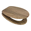 Euroshowers Rustic Oak MDF Toilet Seat with Chrome Bar Hinges - 82998 profile small image view 1