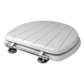 Euroshowers Grooved Wood Toilet Seat w/ Chrome Bar Hinge - White - 83210 profile large image view 2