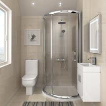 860 x 860mm Pacific Single Entry Quadrant & En-Suite Set Medium Image
