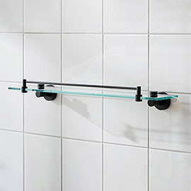 Miller Bond Black Glass Shelf - 8702B