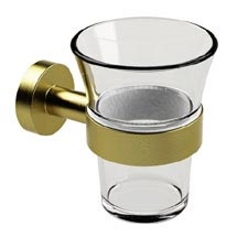 Miller Bond Brushed Brass Tumbler Holder - 8703MP1 Medium Image