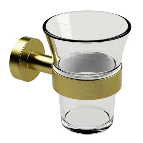 Miller Bond Brushed Brass Tumbler Holder - 8703MP1