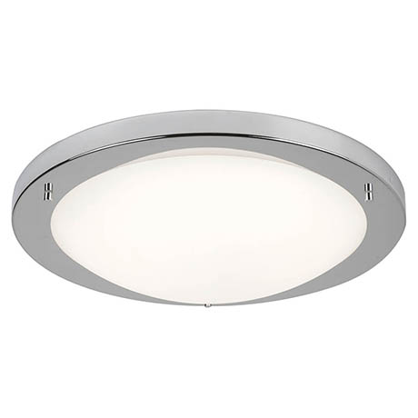 Searchlight 41cm Satin Silver Flush Fitting with Opal Glass - 8703SS