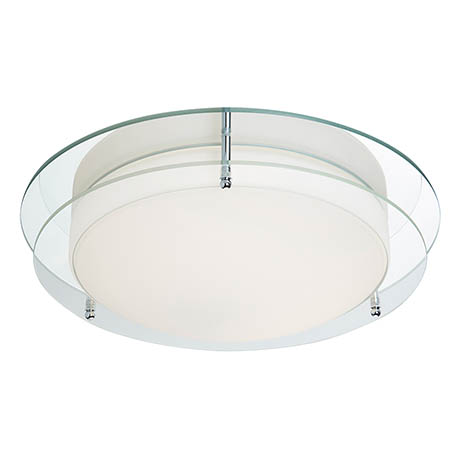 Searchlight LED Chrome Flush Fitting with Mirror Backplate & Opal Glass - 8803-36CC