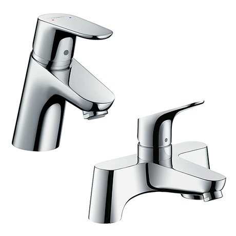 hansgrohe Focus 70 Basin Mixer + Bath Filler Tap Package