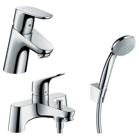 hansgrohe Focus 70 Basin Mixer + Bath Shower Mixer Tap Package