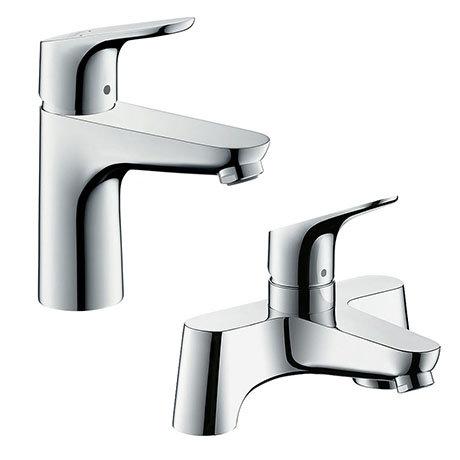 hansgrohe Focus 100 Basin Mixer + Bath Filler Tap Package
