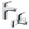 hansgrohe Focus 100 Basin Mixer + Bath Filler Tap Package profile small image view 1