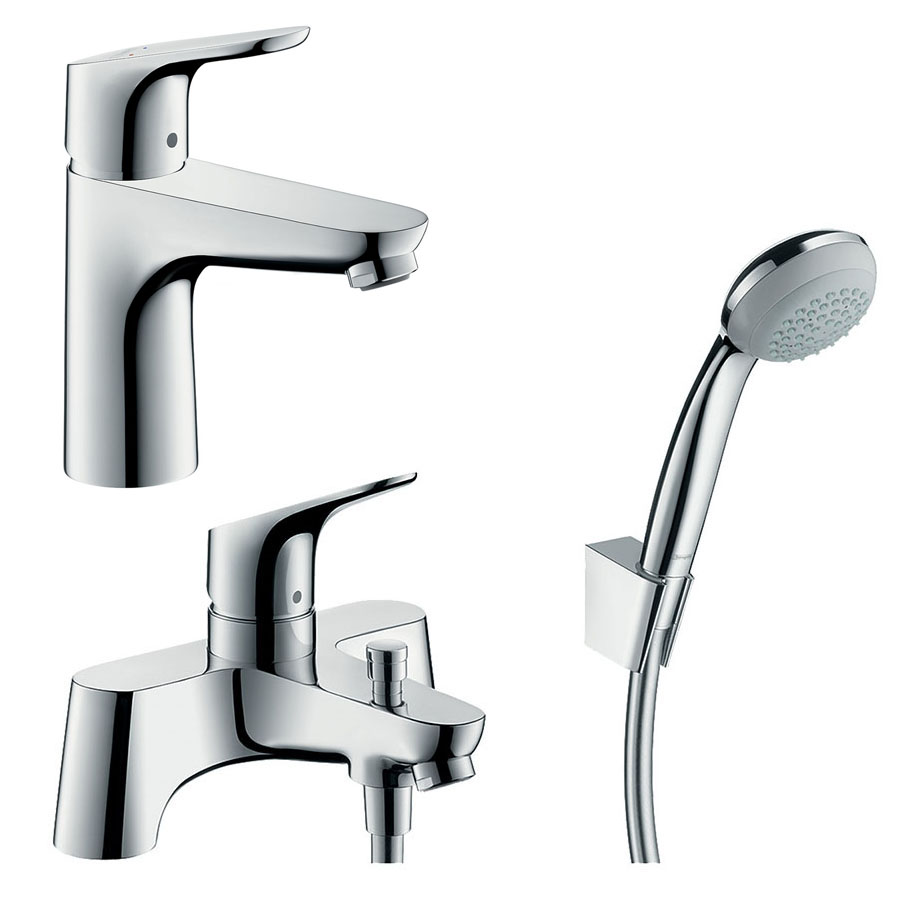 hansgrohe Focus 100 Basin Mixer + Bath Shower Mixer Tap Package