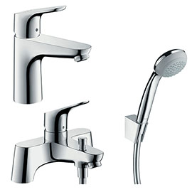 hansgrohe Focus 100 Basin Mixer + Bath Shower Mixer Tap Package