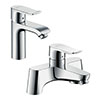 hansgrohe Metris 110 Basin Mixer + Bath Filler Tap Package profile small image view 1