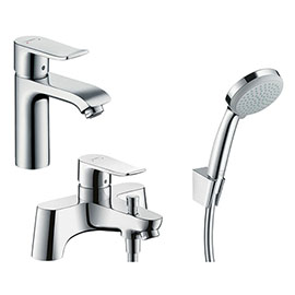 hansgrohe Metris 110 Basin Mixer + Bath Shower Mixer Tap Package