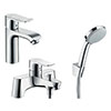 hansgrohe Metris 110 Basin Mixer + Bath Shower Mixer Tap Package profile small image view 1