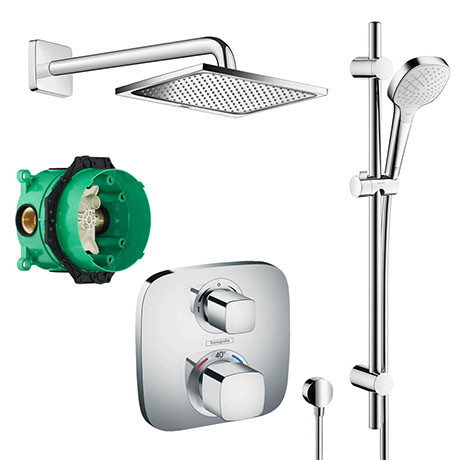 hansgrohe Square Complete Shower Set with Shower Slider Rail Kit - 88100992