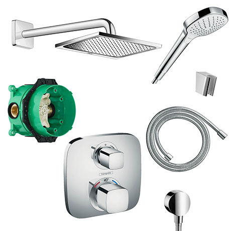 hansgrohe Square Complete Shower Set with Wall Mounted Shower Handset - 88100993