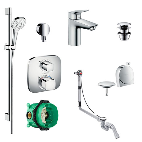 hansgrohe Over Bath Concealed Tap & Shower Package