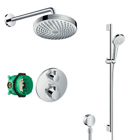 hansgrohe Ecostat S Round Complete Shower Set with Croma Select S Shower Slider Rail Kit