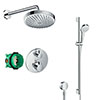 hansgrohe Ecostat S Round Complete Shower Set with Croma Select S Shower Slider Rail Kit profile small image view 1