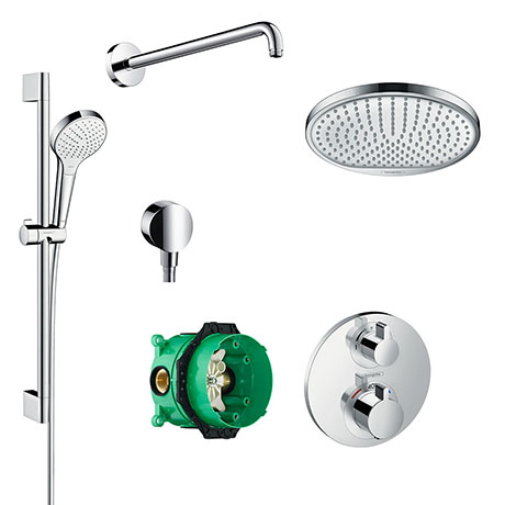 hansgrohe Ecostat S Round Complete Shower Set with Shower Slider Rail Kit