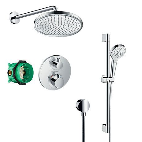 hansgrohe Ecostat S Round Complete Shower Set with Shower Slider Rail Kit