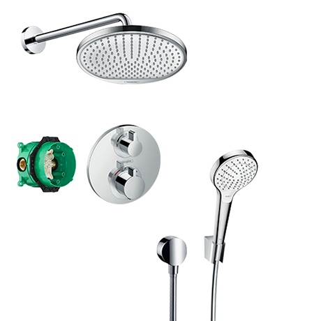 hansgrohe Ecostat S Round Complete Shower Set with Wall Mounted Shower Handset