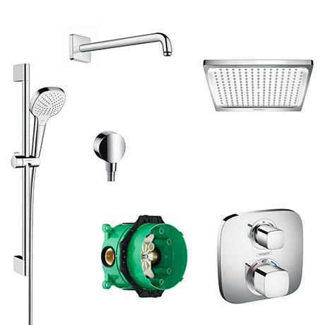 hansgrohe Ecostat E Square Complete Shower Set with Shower Slider Rail Kit