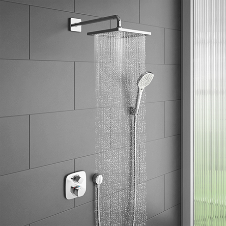 hansgrohe Ecostat E Square Complete Shower Set with Wall Mounted Shower Handset