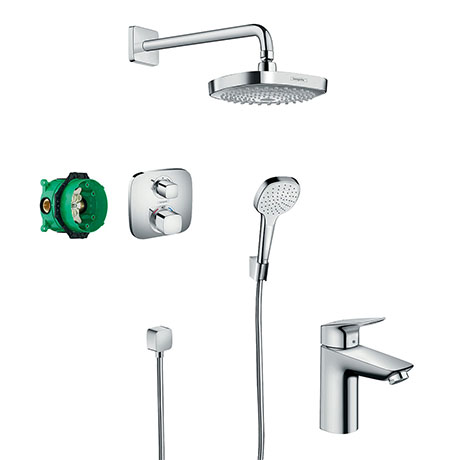 hansgrohe Croma Select E Complete Shower Set & Logis Tap Package