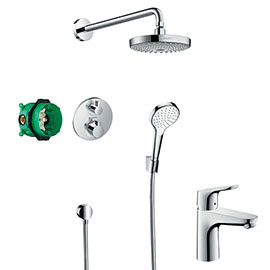 hansgrohe Croma Select S Complete Shower Set & Focus Tap Package