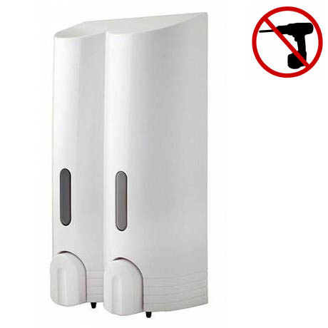 Euroshowers - Tall Double Liquid Dispenser - White - 89810