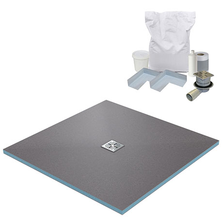 800 x 800 Wet Room Walk In Square Tray Former Kit (Centre Waste)