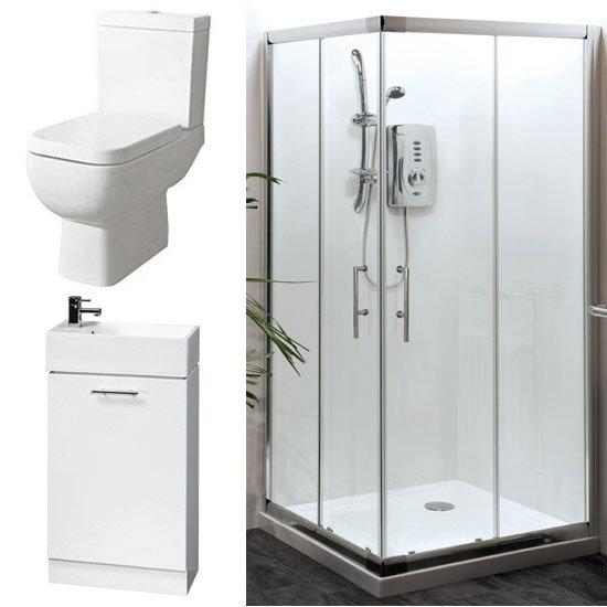 Aegean Corner Entry Shower Enclosure and En-Suite Set - 2 Size Options profile large image view 1