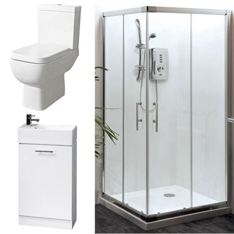 Aegean Corner Entry Shower Enclosure and En-Suite Set - 2 Size Options