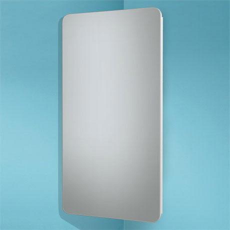 HIB Turin Corner Gloss White Mirror Cabinet - 9101300
