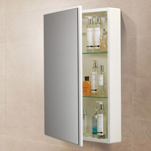 HIB Tulsa Gloss White Mirror Cabinet - 9101600 profile large image view 2