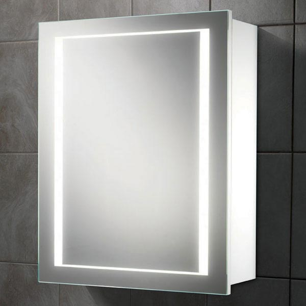 HIB Austin LED Gloss White Mirror Cabinet - 9101900 profile large image view 1