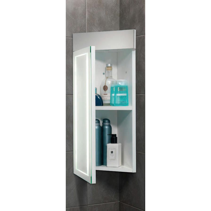 HIB Minnesota Corner LED Gloss White Mirror Cabinet - 9102100  Profile Large Image