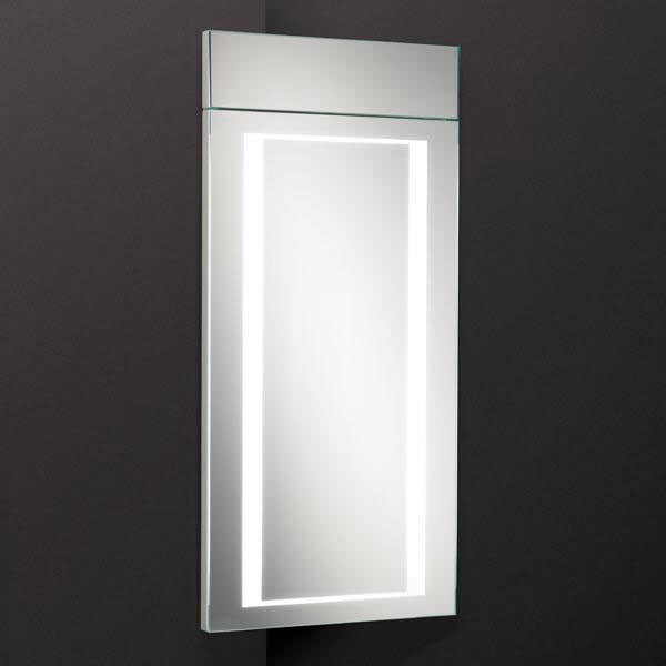 HIB Minnesota Corner LED Gloss White Mirror Cabinet - 9102100 Large Image