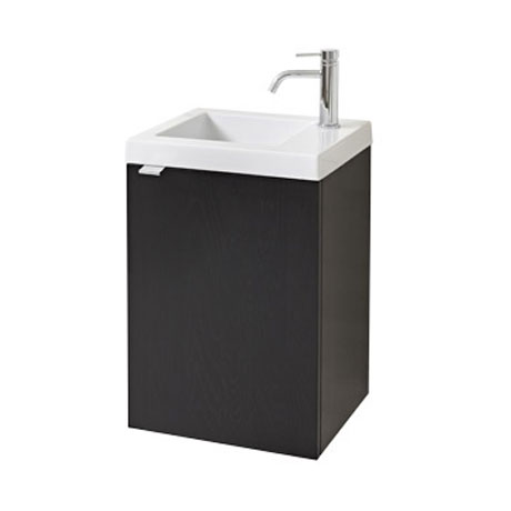 Miller - Nova 40 Wall Hung Single Door Vanity Unit with Ceramic Basin - Black profile large image view 1