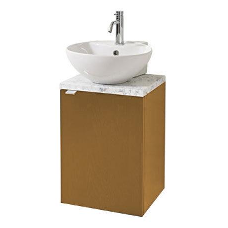 Miller - Nova 40 Wall Hung Single Door Vanity Unit with Carrara Marble Worktop & Ceramic Basin - Oak Large Image