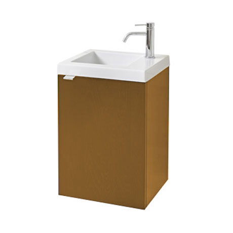 Miller - Nova 40 Wall Hung Single Door Vanity Unit with Ceramic Basin - Oak
