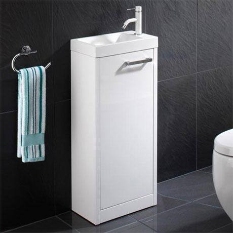 HIB Solo 40cm Floor Standing Unit - White Gloss - 9602200