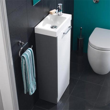HIB Solo 40cm Floor Standing Unit - Anthracite/White Gloss - 9602300
