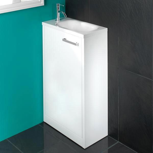 HIB Solo 50cm Floor Standing Unit - White Gloss - 9602400 profile large image view 1