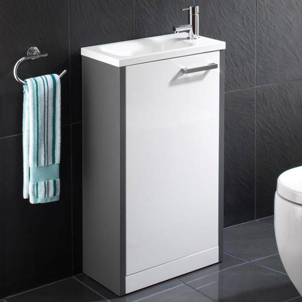 HIB Solo 50cm Floor Standing Unit - Anthracite/White Gloss - 9602500 Large Image