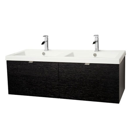 Miller - Nova 120 Wall Hung Two Drawer Vanity Unit with White Double Ceramic Basin - Black