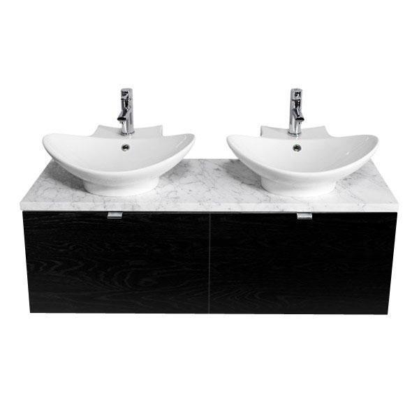 Miller - Nova 120 Wall Hung Two Drawer Vanity Unit with Carrara Marble Worktop & Two Ceramic Basins
