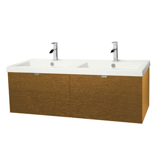 Miller - Nova 120 Wall Hung Two Drawer Vanity Unit with White Double Ceramic Basin - Oak Large Image
