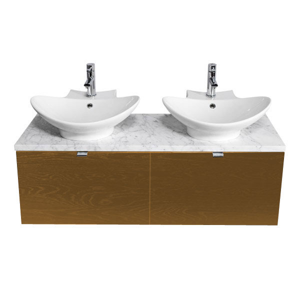 Miller - Nova 120 Wall Hung Two Drawer Vanity Unit with Carrara Marble Worktop & Two Ceramic Basins - Oak profile large image view 1