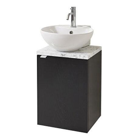 Miller - Nova 40 Wall Hung Single Door Vanity Unit with Carrara Marble Worktop & Ceramic Basin - Black Large Image